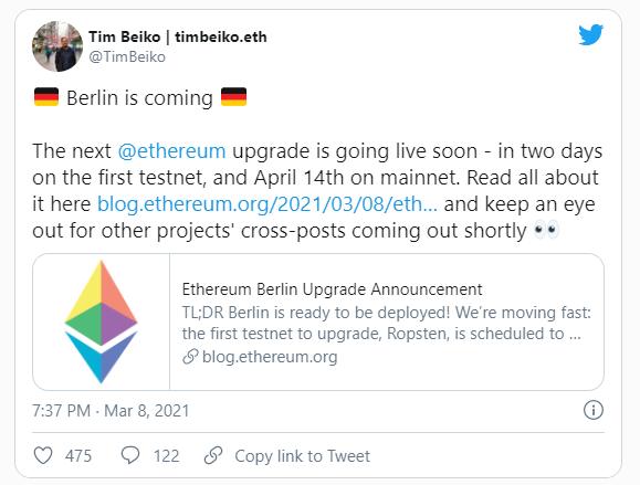 Обновление Ethereum Berlin