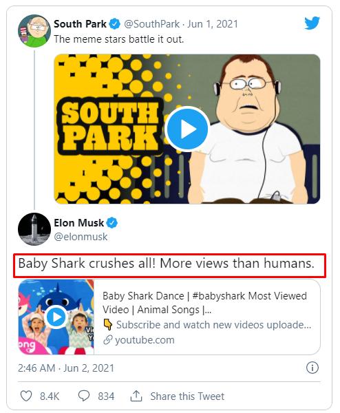 Твит Маска о Baby Shark